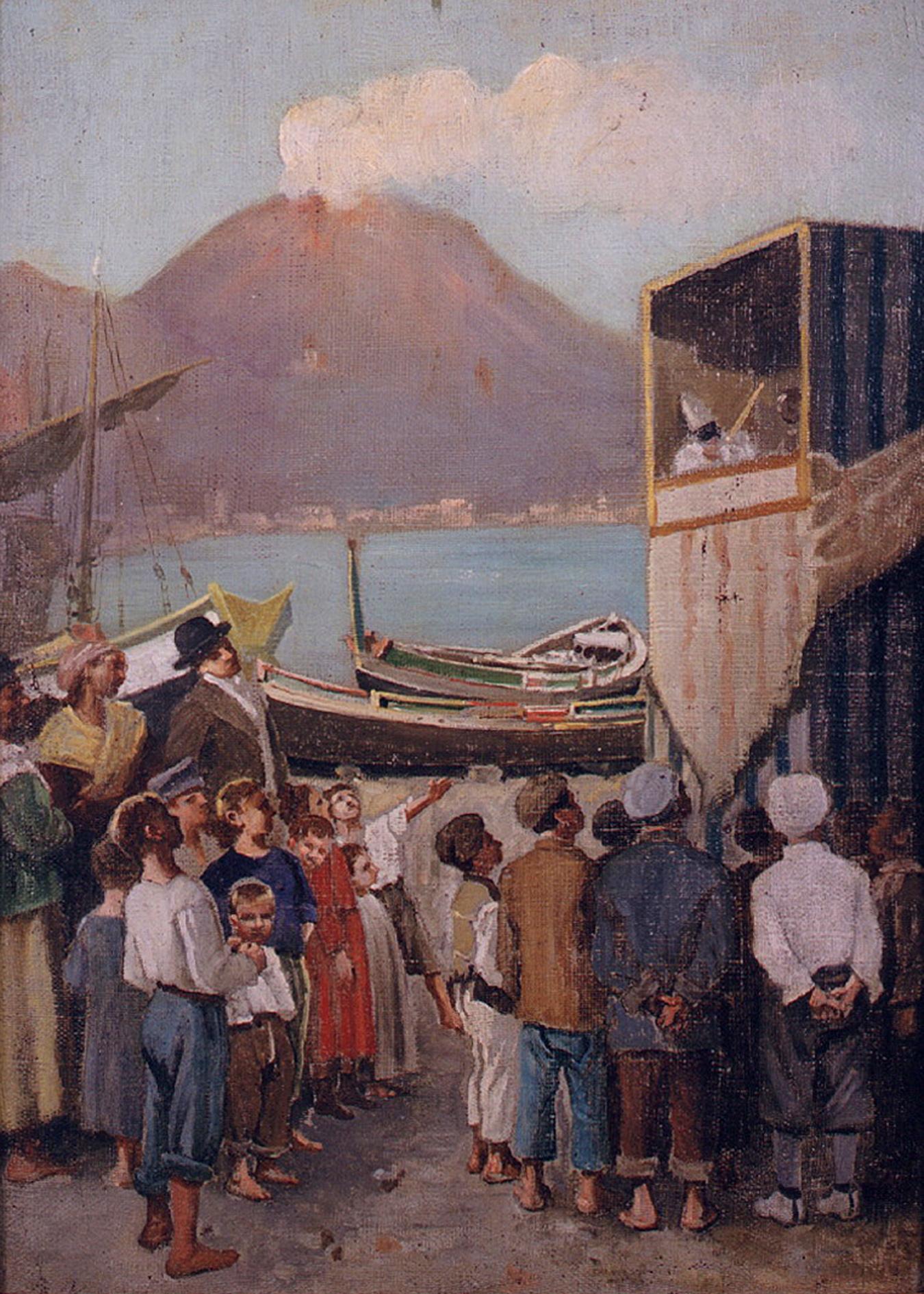 Ignoto fine sec. XIX, Marina con teatro di marionette, Museo di San Martino