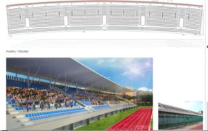 simulazione della tribuna ristrutturata e in basso lo stato attuale dei luoghi