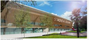 rendering del progetto presentato da Giano srl per l'esterno della struttura sportiva