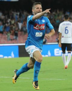 SPORT Napoli 27-08-2017 stadio San Paolo Napoli-Atalanta nella foto Dries Mertens  esulta dopo il gol   (newfotosud Alessandro Garofalo)