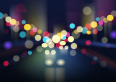 Night city with traffic lights and defocused buildings blur background vector illustration